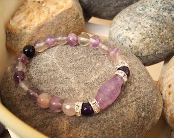 Elegant Fluorite and Rhinestone Beaded Stretch Bracelet