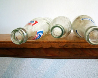 Vintage Soda Bottle Trio Pepsi, Dr. Pepper, Whistle, Missouri Soda Local Vintage Glass Bottles