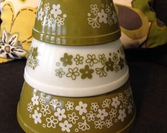 Vintage Pyrex Spring Blossom Mixing Bowl Set 401-403