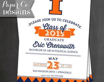 Printable College Graduation Invitation - Illini - U of I - Digital File ONLY