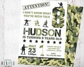 CAMO Invitation CAMOUFLAGE ARMY Birthday Party Invitation // Paintball Invitation // Lazer tag Invitation //  Capture the Flag Invitation