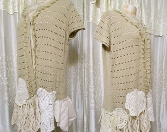 Womens Bohemian Sweater, tan sweater, short sleeve sweater, embellished doilies, vintage linen, altered couture clothing, 2X LARGE
