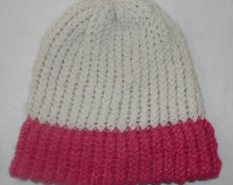 Alpaca Hat - 100% Alpaca - White with Pink Brim