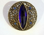 Vintage Victorian Lacy Metal Button with Cobalt Blue Marquise Center Stone, 29mm, 1pc