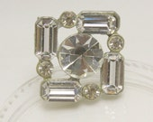 Vintage Square Rhinestone Button, 23mm, 1pc