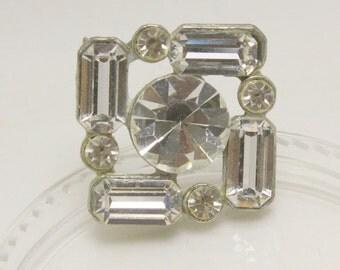 Vintage Square Rhinestone Button, 23mm, 1pc