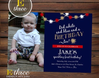 4th of July Birthday Party Invitation - Red, White, and Blue Fourth of July Birthday Invite - Gold Glitter