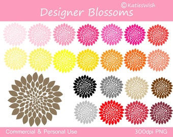 Designer Blossoms Clip Art Clipart PNG files commercial use  flower, floral, bloom