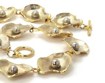 Gold Flower Necklace Statement Choker Vintage Mid Century 1960s Goldtone Metal Chunky Large Choker