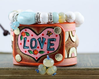 PINK LOVE,Leather cuff bracelet, hand carved and painted, HEART, boho, hippie jewelry, cowgirl jewelry