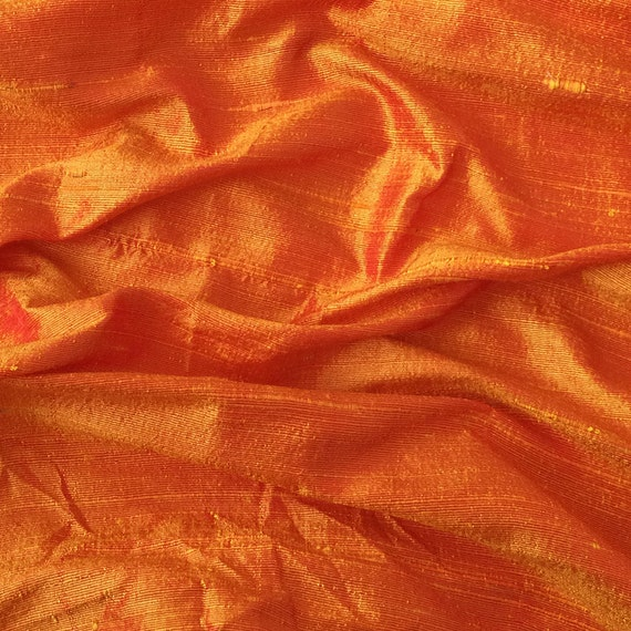Saffron Orange 100 Percent Pure Silk Dupioni Fabric By The