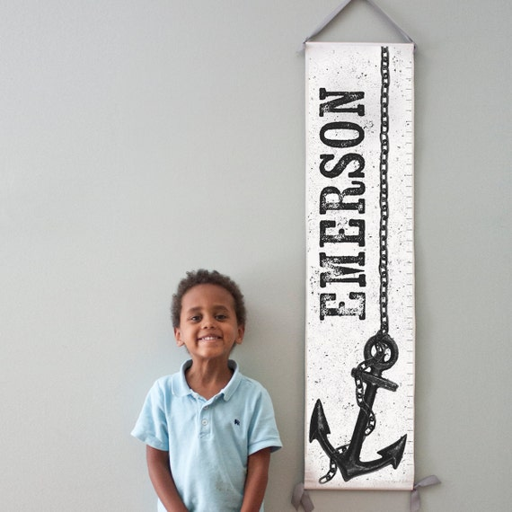 Custom/ Personalized nautical black and white anchor canvas growth chart