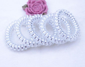 20 Telephone wire Hair Ties / telephone wire / Transparent elastic hair band / ponytail holders / shiny Silver inner telephone hair tie