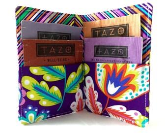 Tea Bag Wallet Holder - Michael Miller Fiesta Esme in Grape Purple  - Ready to Ship