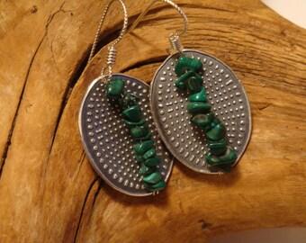 Malachite Totem Earrings - Malachite and Fine Silver Earrings - PMC