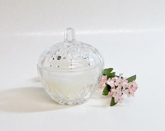 Candle in Vintage Pressed Glass Lidded Jar Vanilla