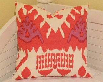 Quadrille China Seas Kazak in Orange Designer Pillow Cover - Square and Euro Sizes