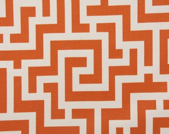 Fabric Remnant -Richloom Keys in Tangerine Indoor Outdoor Fabric - over 2 yards