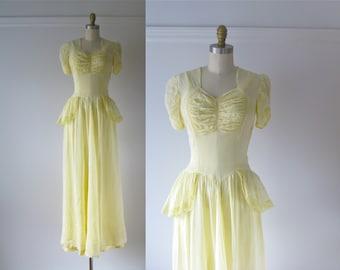 Lemon Chiffon / vintage 1930s dress / 30s dress