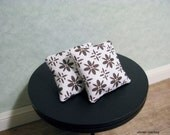 Pair of brown and white abstract floral pillows - dollhouse miniature
