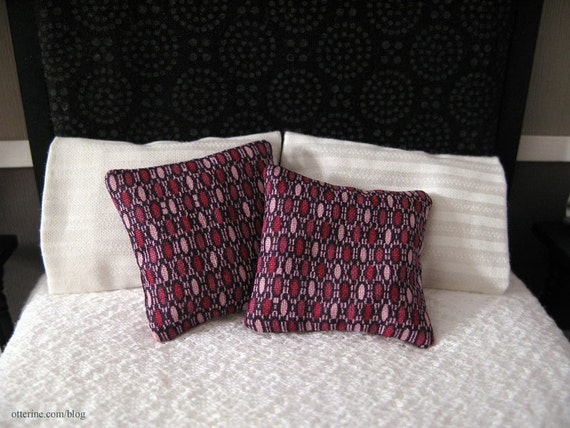 Dollhouse miniature set of 2 purple abstract pillows
