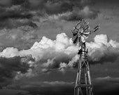 Vintage Windmill Energy in South Dakota at the 1880 Town Frontier Museum Prairie Farm No.BW4913 Black & White Fine Art Landscape Photography