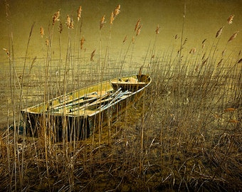 Row Boat among the Reeds on the Shore of Grand Traverse Bay in Michigan No.2 Fine Art Boat Seascape Photography