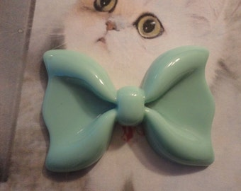 Kawaii light mint green blue big bow cabochon decoden deco diy charm---USA seller