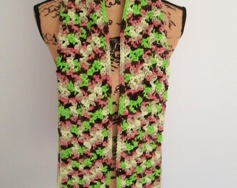 Hand crocheted scarf, bright green, browns, cream and mauve