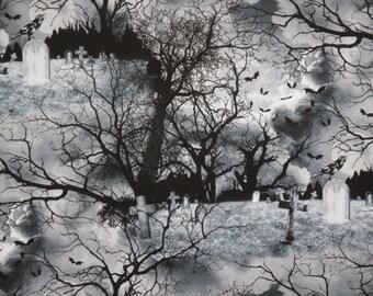 Dramatic Graveyard Print Pure Cotton Fabric--One Yard