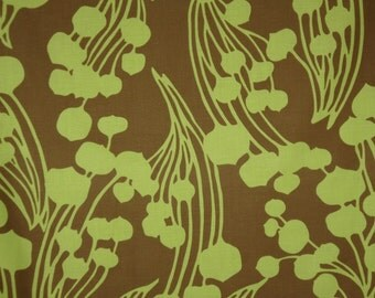 REMNANT--Avocado Green on Brown Abstract Fiddlehead Print Pure Cotton Fabric--1.75 YardS