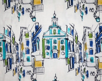 SPECIAL--On The Town Print in Blue and Green Pure Cotton Fabric--One Yard
