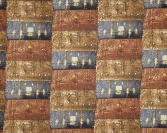 Burgundy Brown and Navy Packed Suitcase Print Pure Cotton Fabric--One Yard