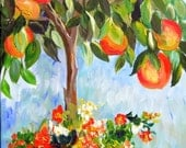 Peach Tree Original Painting wall art home decor gift for her landscape paintingf canvas art 15 x 30 Art by Elaine Cory