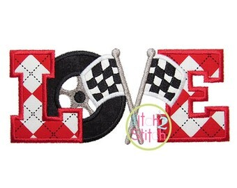 Racing Love Applique Design For Machine Embroidery INSTANT DOWNLOAD now available