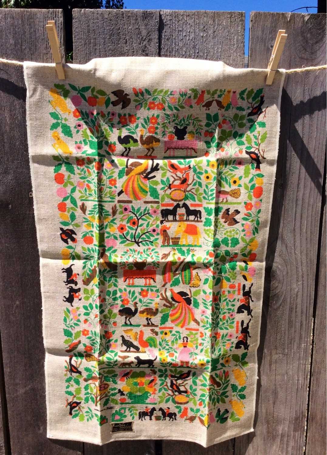 Kay dee vintage tea towel linen with birds animals and Kay dee designs kitchen towels