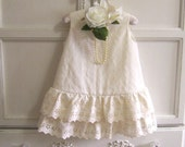 Eyelet Embroidery Baby Dress Size 2, Ruffles and Cream Toddler Swing Dress, Easter, Christening, Baptism,  Flower Girl, Reclaimed Textiles