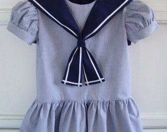 On Sale! Baby Striped Sailor Dress size 2 Toddler, Vintage Inspired Dress in Navy Stripes with Navy Collar, Little French School Girl Dress