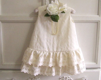 Eyelet Embroidery Baby Dress Size 2, Ruffles and Cream Toddler Swing Dress, Christening, Baptism,  Flower Girl, Reclaimed Textiles