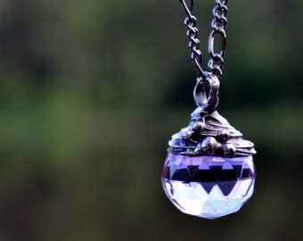 Amethyst Necklace, Crystal Sphere, Faceted Amethyst, Crystal Ball Jewelry, Purple Crystal, Sweet Necklace, Crystal Glass Pendant (2343)