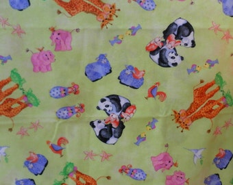Baby animals fabric 100% cotton