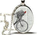 Cardinal Necklace Cardinal Jewelry Cardinal and Bicycle Jewelry Hamilton House Prints Original Print Necklace