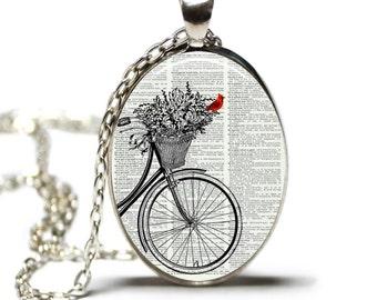 Cardinal Necklace Cardinal Jewelry Cardinal and Bicycle Jewelry Hamilton House Prints Original Print Necklace