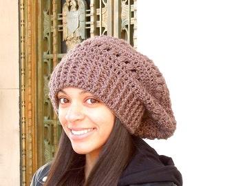 Crochet Slouchy Hat, Women, Teen, Tam, Hippie Hat, Oversize Hat, Color is Chocolate