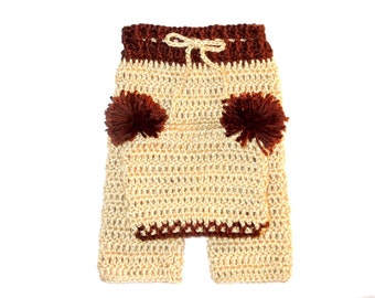 Crochet Baby Pants and Hat Set, Brown, Beige, Baby Shower Gift