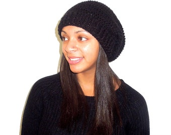 Crochet Slouchy Hat, Black Hat, Ribbed, Women, Men, Teen, Tam,  Adult, Ready To Ship