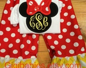 Minnie mouse monogram shirt by gigi babies, disney toddler outfit, little girl, birthday