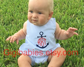 Baby boy bubble on blue seersucker with anchor monogram