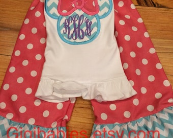 Girls chevron minnie shirt and double ruffle pants by gigi babies, disney toddler outfit, little girl, birthday