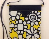 Black Yellow White Floral Quilted Fabric Snap Bag Purse Handbag
